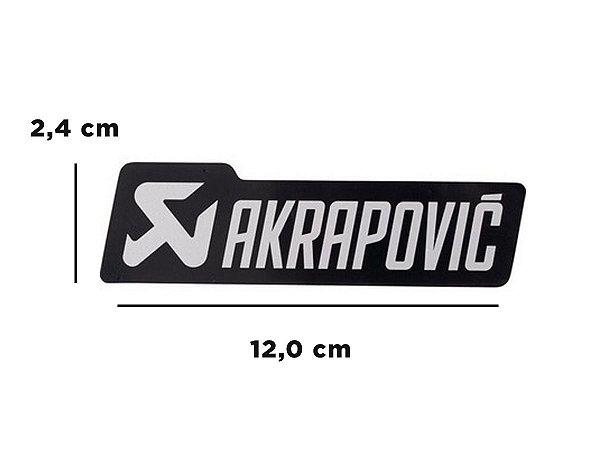 Adesivo térmico Akrapovic retangular 12,0 cm (preto e prata)