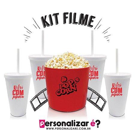 """Kit Filme """"Popcorn & Refri"""" 1 Balde e 4 copos com tampa"""