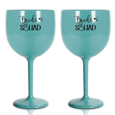 Kit 2 Taça Gin Acrílico 550ml Azul Tiffany - Bride Squad