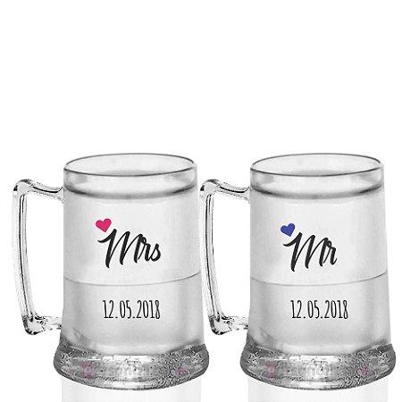 Kit 2 Canecas Gel Personalizada - Mrs e Mr - Dias dos Namorados