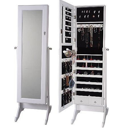 Espelho Porta Jóias e Bijuterias Organizador Branco Silvinha Prado