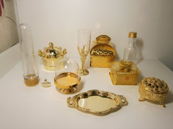 Kit Dourado Elegance Coroa Porta Joia Caixinhas Festa