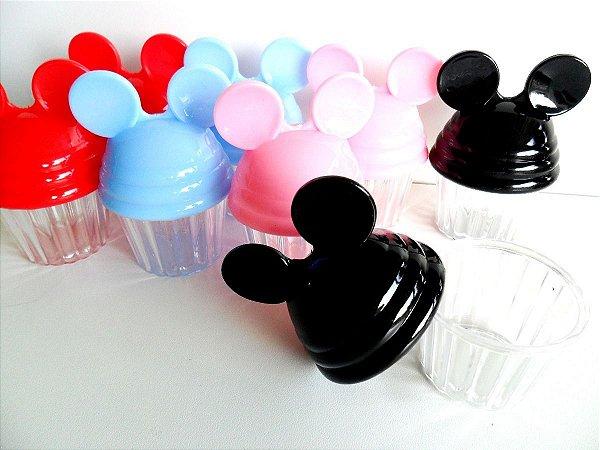10 Porta Cup Cake Caixinha Plastica Orelinha Mickey Minnie