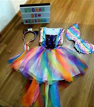 Fantasia Unicornio Amor Infantil Festa