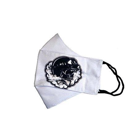 Máscara Caveira na Fumaça - Modelo 3D (Branco)