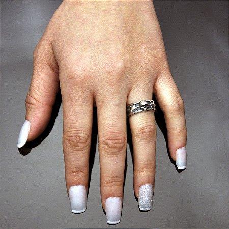 Par de alianças caveira e arame farpado em prata 950k - feminina 6,5 mm