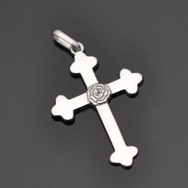 Pingente cruz rosa cruz em prata 950k