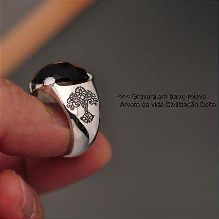 Anel Árvore da Vida em prata 950K e pedra Obsidiana