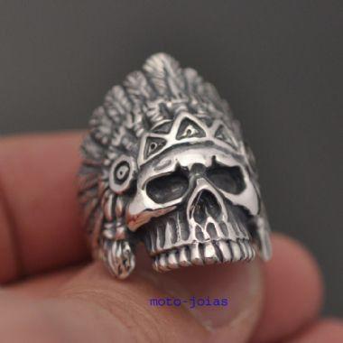 Anel Caveira Indio Apache (G) em prata 950k