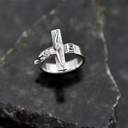 Anel Crucifixo INRI em prata 950K