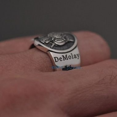Anel DeMolay Brasil em prata 950k