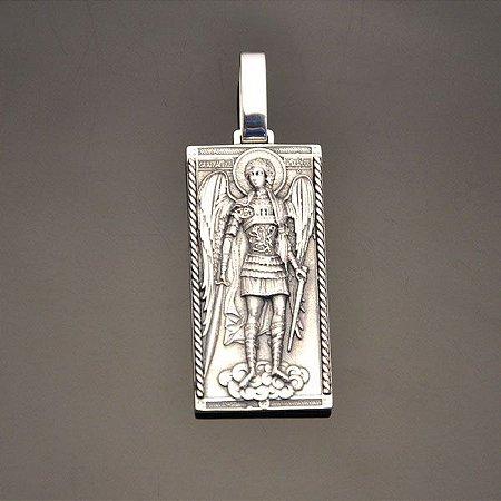 Pingente Arcanjo Miguel Grande Com Oração (prata)