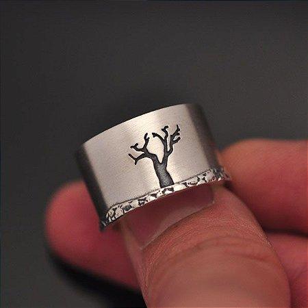Anel Natureza Morta (árvore) rm prata 950k