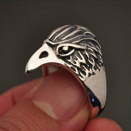 Anel cabeça de águia em prata