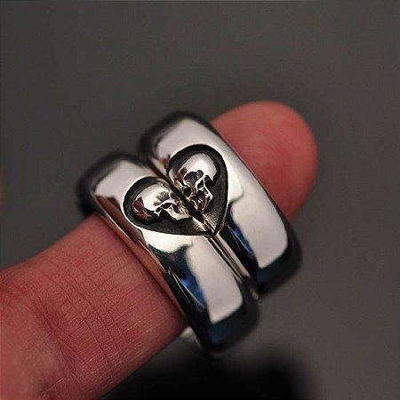 Par de alianças caveiras um só coração em Prata 950k (8 mm)