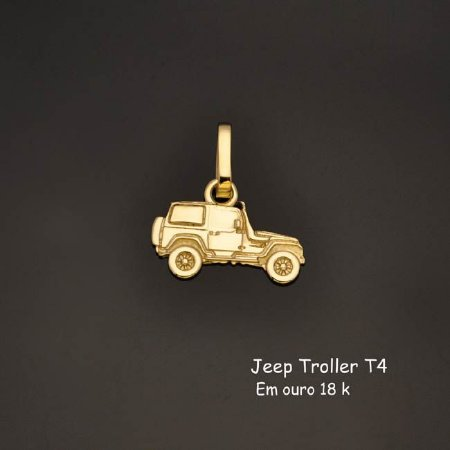 Pingente Jeep Troller T4 em ouro 18 k