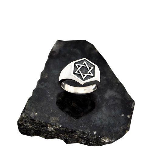 Anel Estrela de Salomão em Prata 950k
