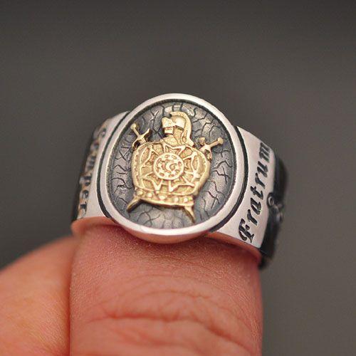 Anel DeMolay Maçom em prata 950k com detalhe em ouro 18k