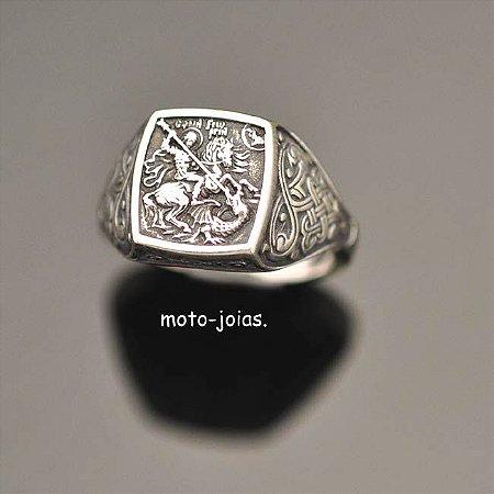 Anel São Jorge Unissex em prata 950k