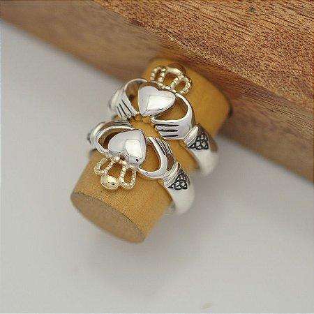 Par de Anéis Claddagh em Prata 950k e Detalhe Em Ouro 12k