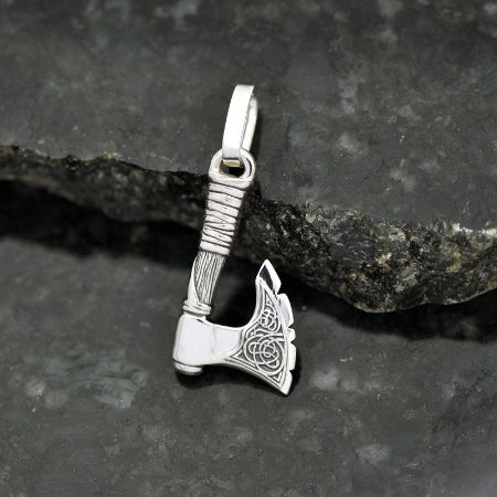 Pingente machadinha viking em prata 950k