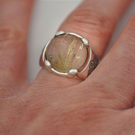 Anel Árvore da Vida em prata 950K com pedra natural quartzo rutilado