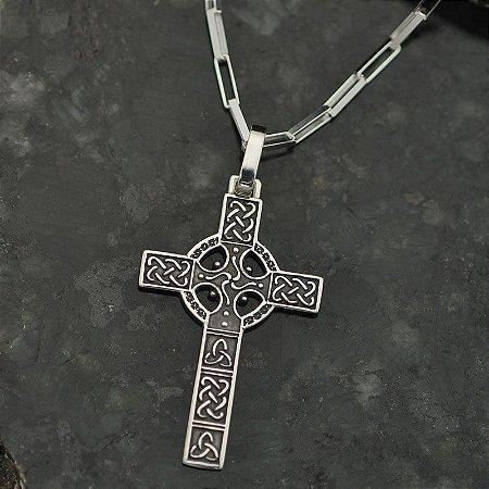 Conjunto Cruz Céltica em Prata 950k e Corrente elos quadrados em Prata 925k