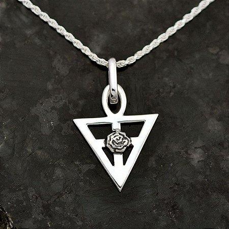 Conjunto Triângulo Místico Rosa Cruz em prata 950k e Corrente em Prata 925k