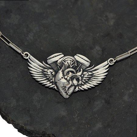 Gargantilha Motor Heart With Wings em Prata 950K