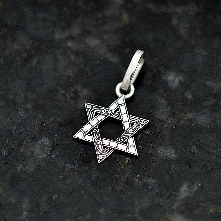 Pingente Estrela de Salomão em Prata 950k - Trabalhada
