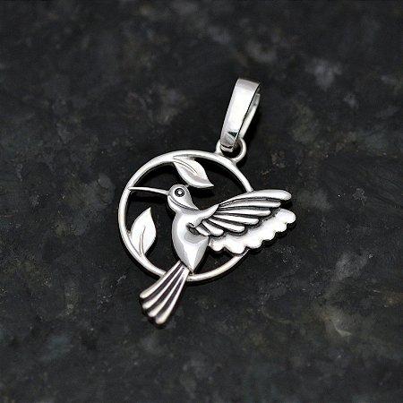 Pingente Beija-Flor dentro do Círculo em Prata 950k - Grande