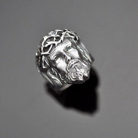 Anel Face de Cristo em Prata 950k