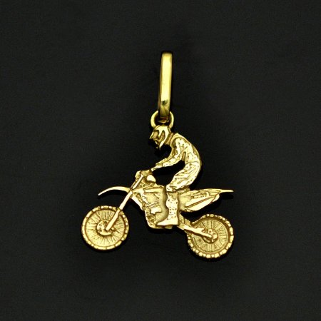 Pingente off-road motocross em ouro 12K amarelo