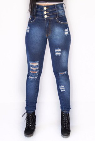 27a4fe090 Calça Jeans Feminina 3 Cós Cintura alta Azul Escura - NR Modas