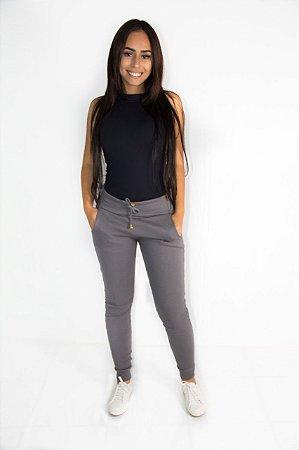 256625220 Calça Feminina Ribana Cintura Alta Cinza - NR Modas