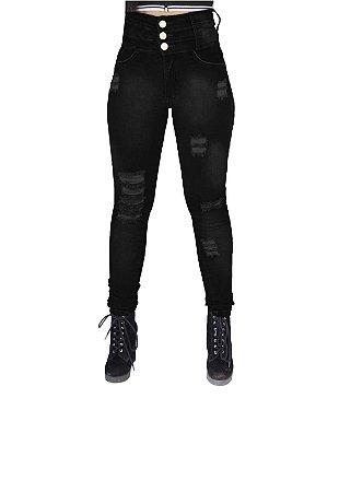 a13e96840 Calça Jeans Feminina 3 Cós Cintura alta Preto - NR Modas