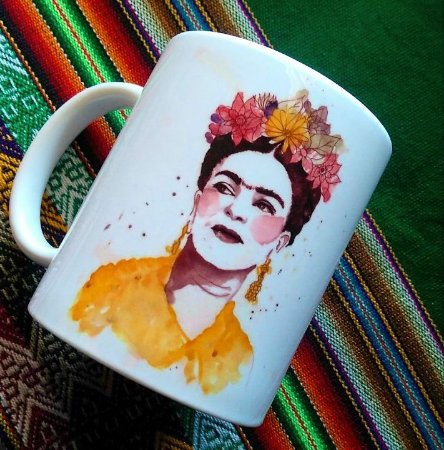 Caneca Frida Kahlo aquarela