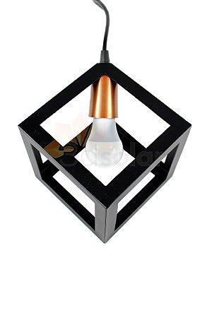 Pendente Luminária Cubo Preto C/ Cobre + Lâmpada Led 4,7w