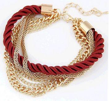 Pulseira de corda feminina quatro cores para mulheres modernas.