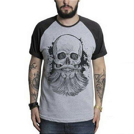 afa0a8ff2 Camiseta Caveira Beard Raglan Masculina - Loja Careca com Barba