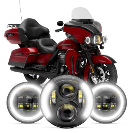 "Kit Completo Farol de Led Angel Eyes P/ Harley Modelos Touring Principal 7"" + Milha 4.5"""