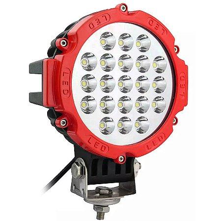Farol de LED Milha 63w 21 LEDs Spot Vermelho Prova D' Água 18cm 7 Pol  – Und
