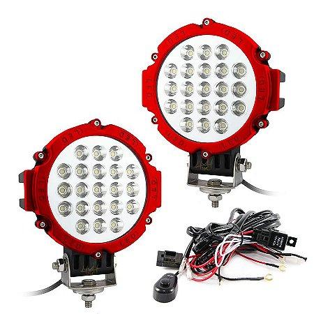 Farol de LED Milha 63w 21 LEDs Spot Vermelho Prova D' Água 18cm 7 Pol – Par