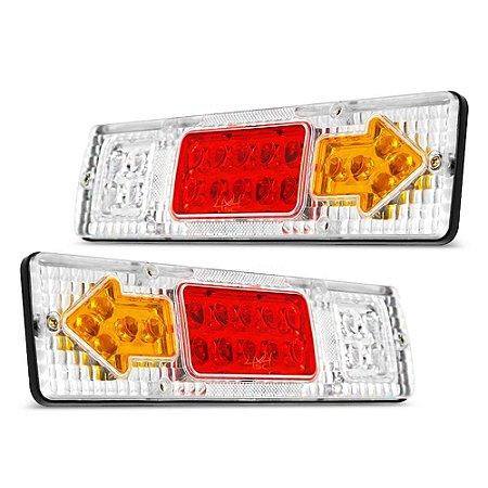 Lanterna Traseira / Sinaleira de Led p/ Caminhão Ônibus Carretinha - Seta Freio Ré 30cm 12v e 24v - Par