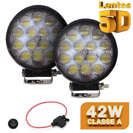 Farol de Milha Redondo 42w 5D 14 LED Auxiliar Flood  11cm Par + Fuse/Botão