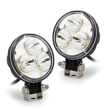 Farol de LED Milha 9w 3 LEDs Cree Spot 710 Lumens Redondo 8,5cm 3.5 Pol - Par