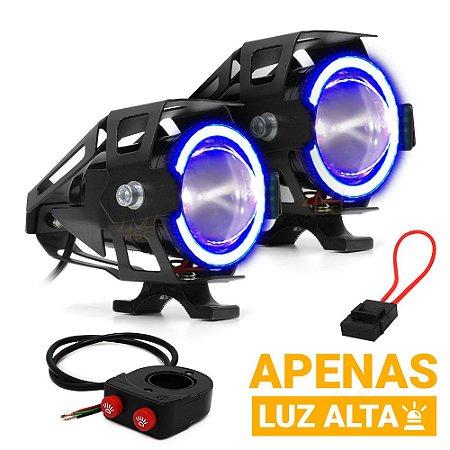 Farol de Milha Aux Moto 15w U7 3.000LM Luz Alta + Angel Eyes Azul + Controle Duplo + Porta Fuse - Par