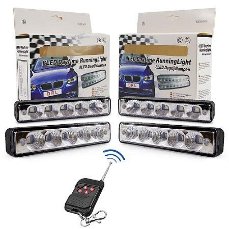 Kit Strobo Automotivo - 04 Farol LED Branco 15cm Prova Água + Controle Efeitos Longa Distância - 12V