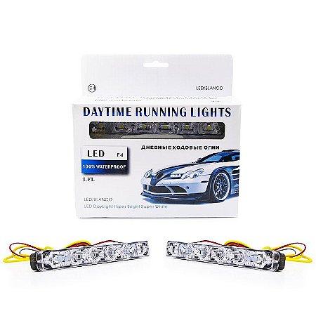 Farol de LED DRL Day Light 6 LEDs - Luz Diurna Branco - Pisca Âmbar Seta 12v - Par