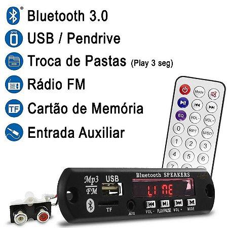 Placa MP3 Player USB SD FM BT Controle Remoto + Saída RCA